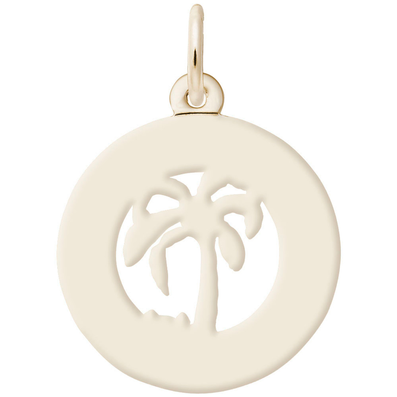 """Florida"" Palm Tree Ring Charm with Pearl Accent - Engraveable Backside - Gold Plate, 10k Gold, 14k Gold"