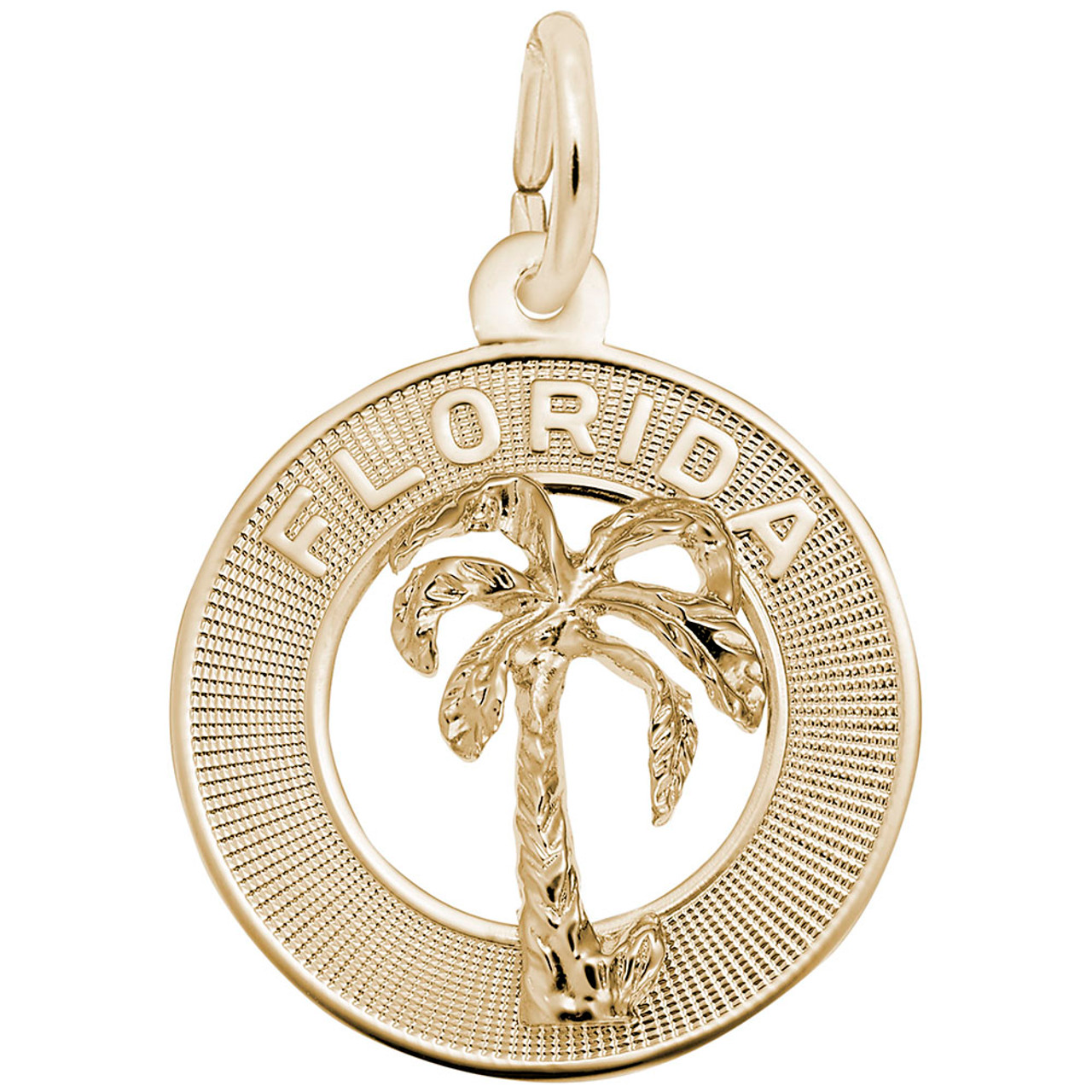 """Florida"" Palm Tree Ring Charm with Pearl Accent  - Gold Plate, 10k Gold, 14k Gold"