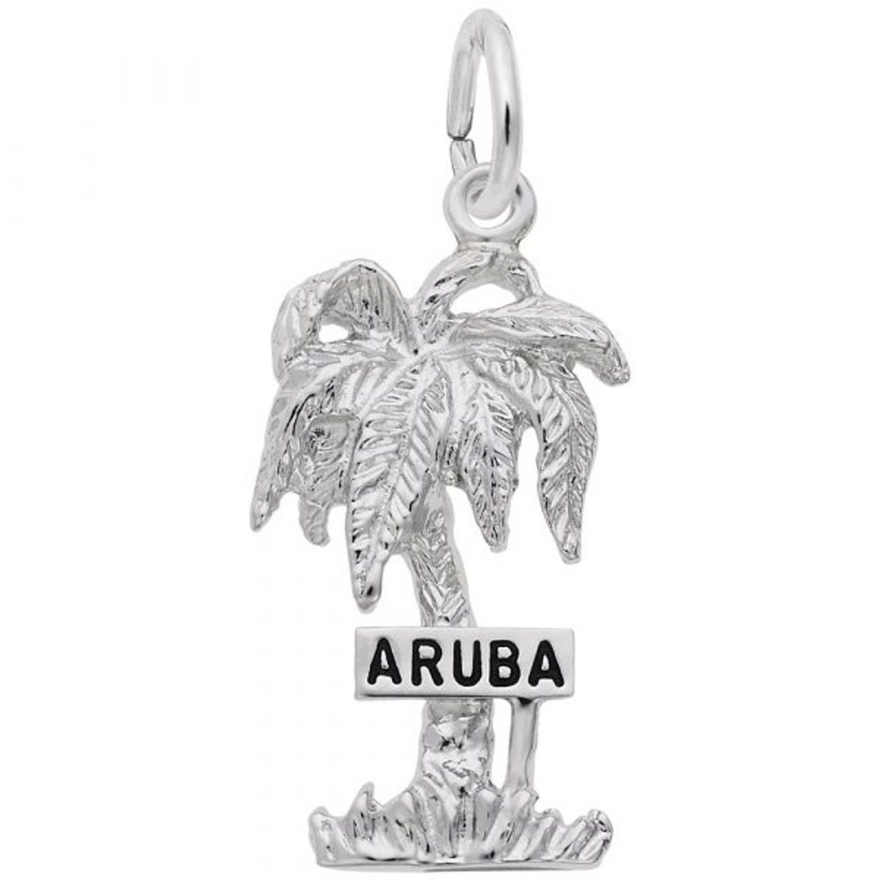 """""""Aruba"""" Palm Tree Charm - Sterling Silver and 14k White Gold"""