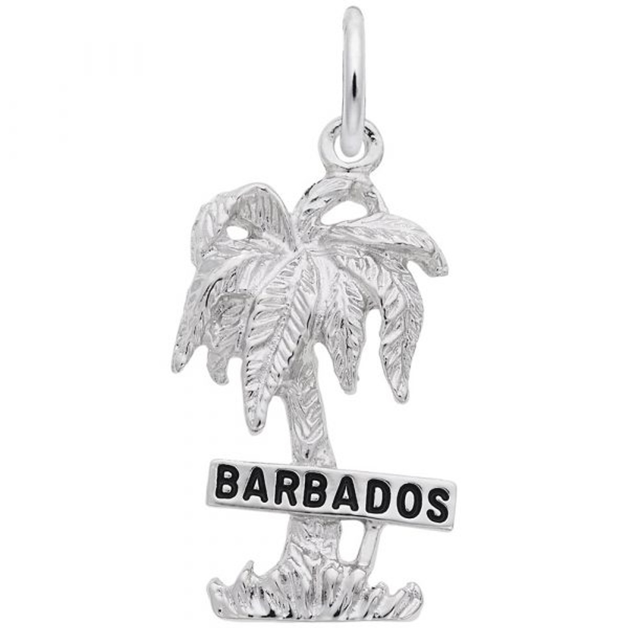 """""""Barbados"""" Palm Tree Charm - Sterling Silver and 14k White Gold"""