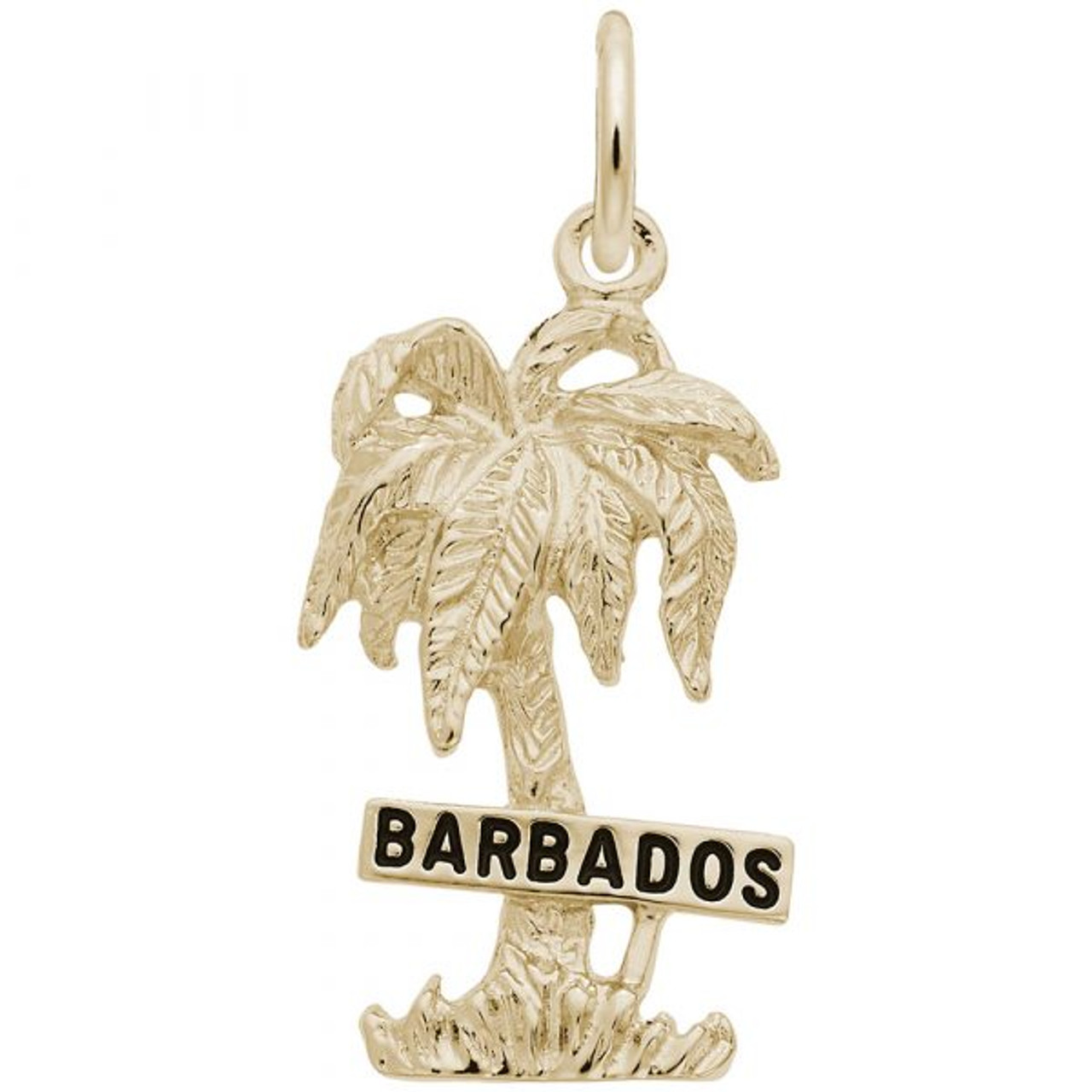 """""""Barbados"""" Palm Tree Charm - Gold Plate, 10k Gold, 14k Gold"""