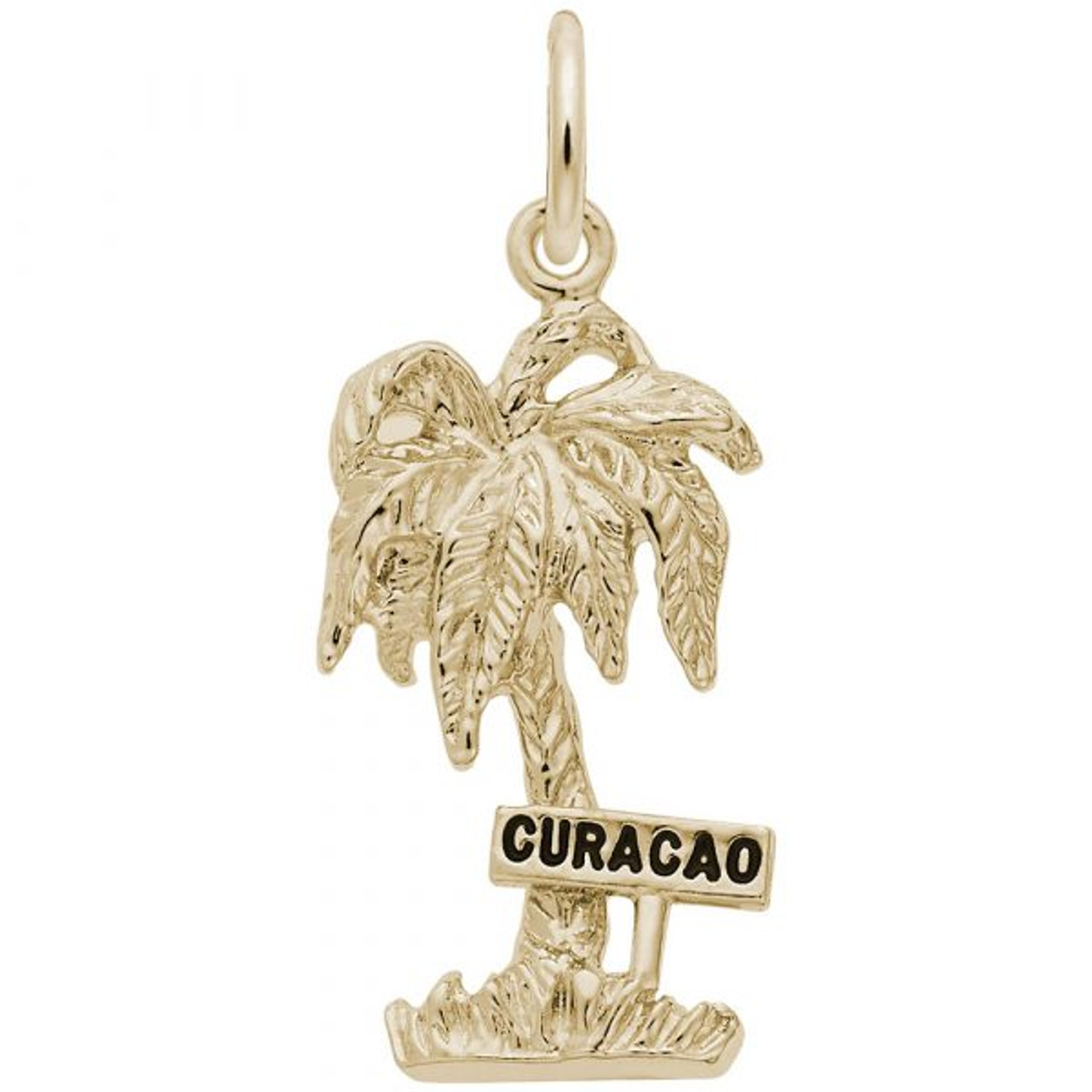 """Curacao"" Palm Tree Charm - Gold Plate, 10k Gold, 14k Gold"