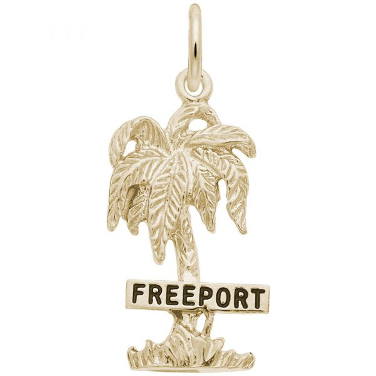 """Freeport"" Palm Tree Charm - Gold Plate, 10k Gold, 14k Gold"