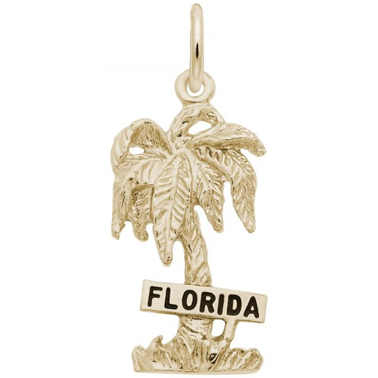 """Florida"" Palm Tree Charm - Gold Plate, 10k Gold, 14k Gold"