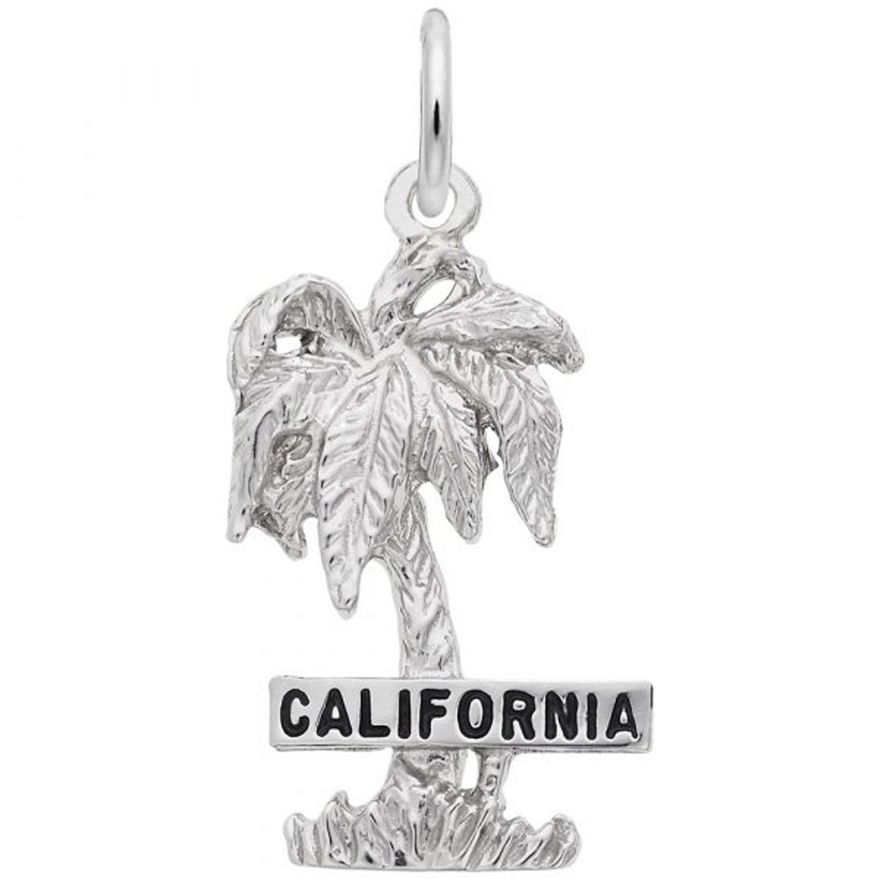 """California"" Palm Tree Charm - Sterling Silver and 14k White Gold"