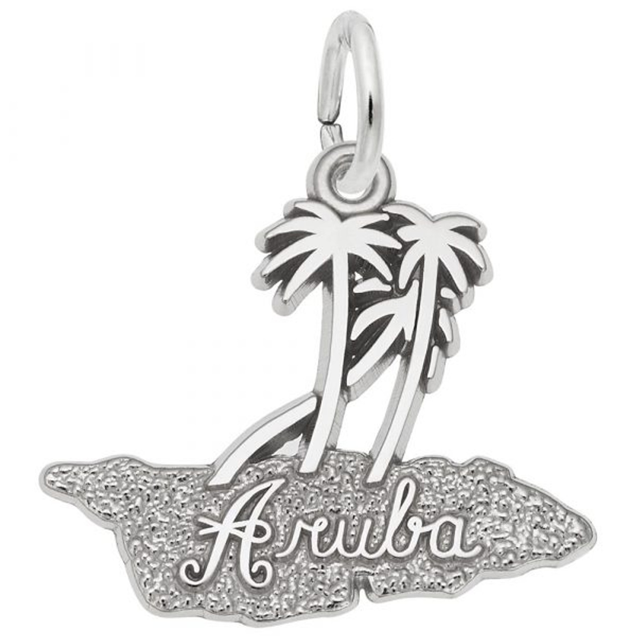"""Aruba"" Palms Charm -Sterling Silver and 14k White Gold"