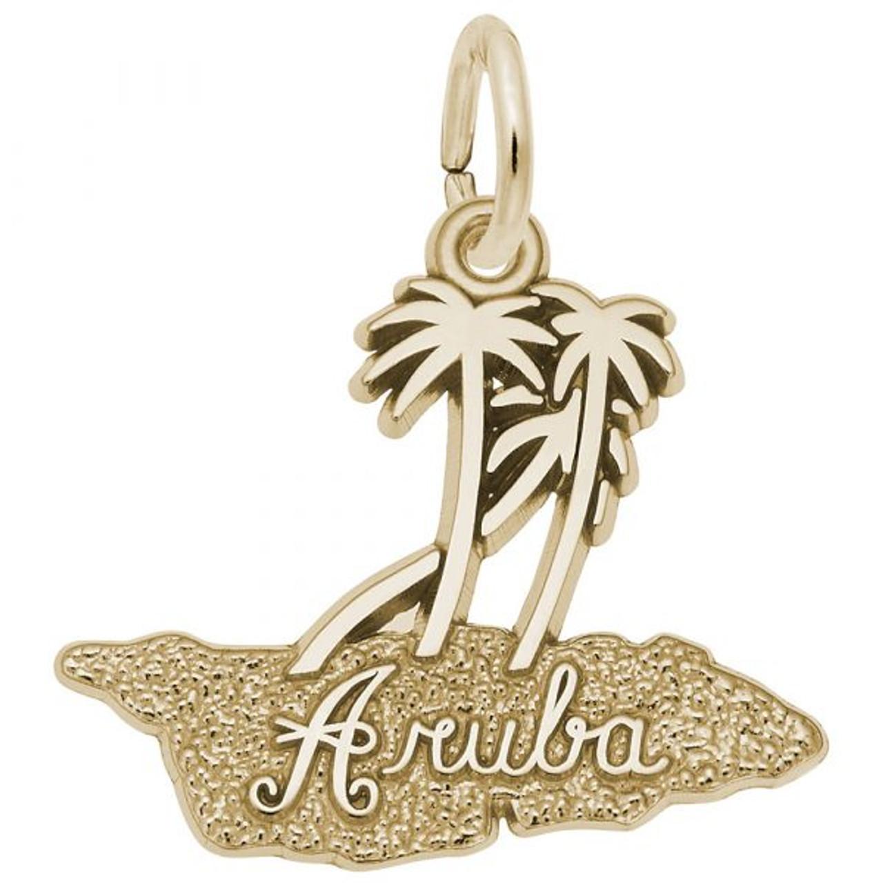 """Aruba"" Palms Charm  - Gold Plate, 10k Gold, 14k Gold"