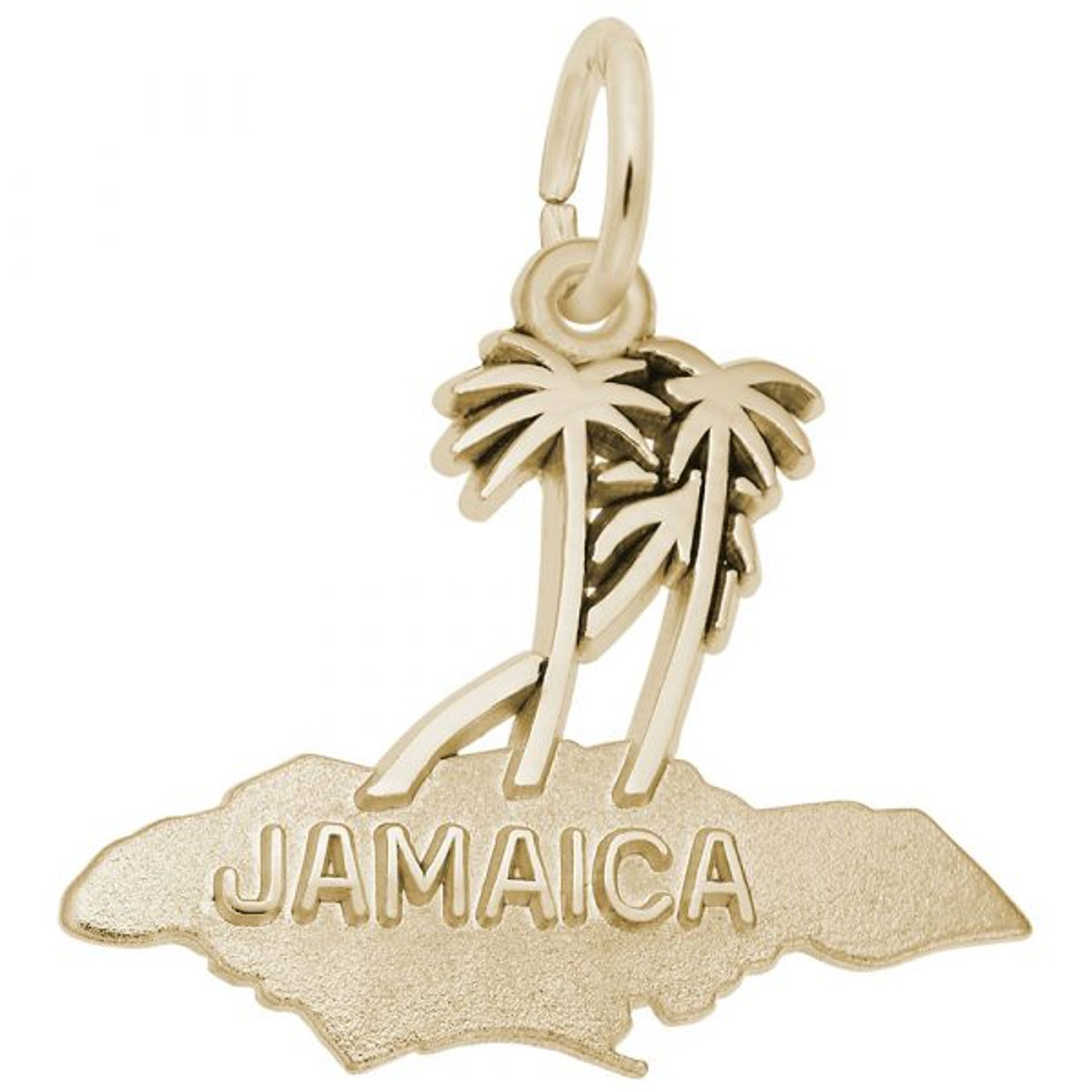 """Jamaica"" Palms Charm  - Gold Plate, 10k Gold, 14k Gold"