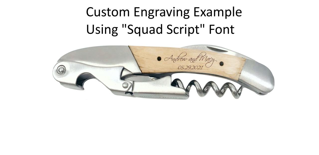 Classic Double Pull Corkscrew Wine Opener – Choose Your Design – Optional Custom Engraving - Custom Example