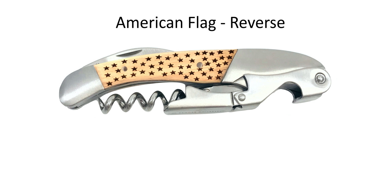Classic Double Pull Corkscrew Wine Opener – Choose Your Design – Optional Custom Engraving - American Flag Reverse