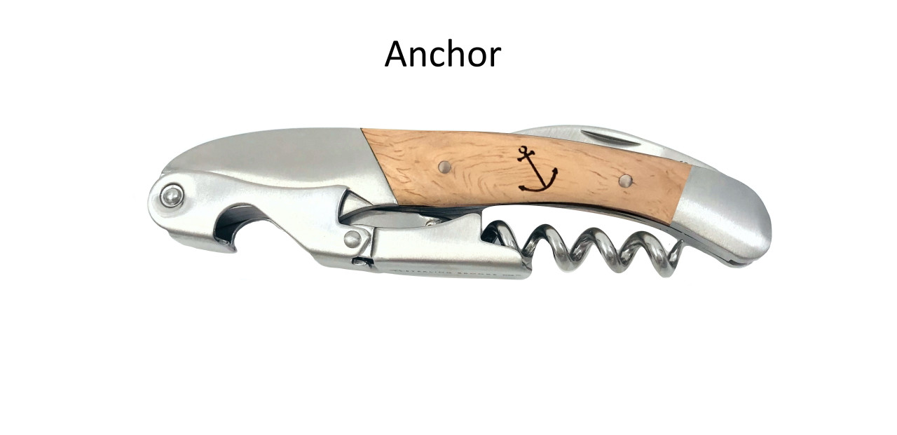 Classic Double Pull Corkscrew Wine Opener – Choose Your Design – Optional Custom Engraving - Anchor