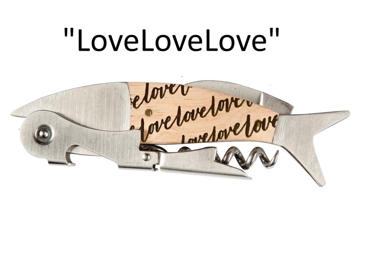 """Coastal Double Pull Corkscrew Wine Opener – Choose Your Design – Optional Custom Engraving - """"LoveLoveLove"""""""