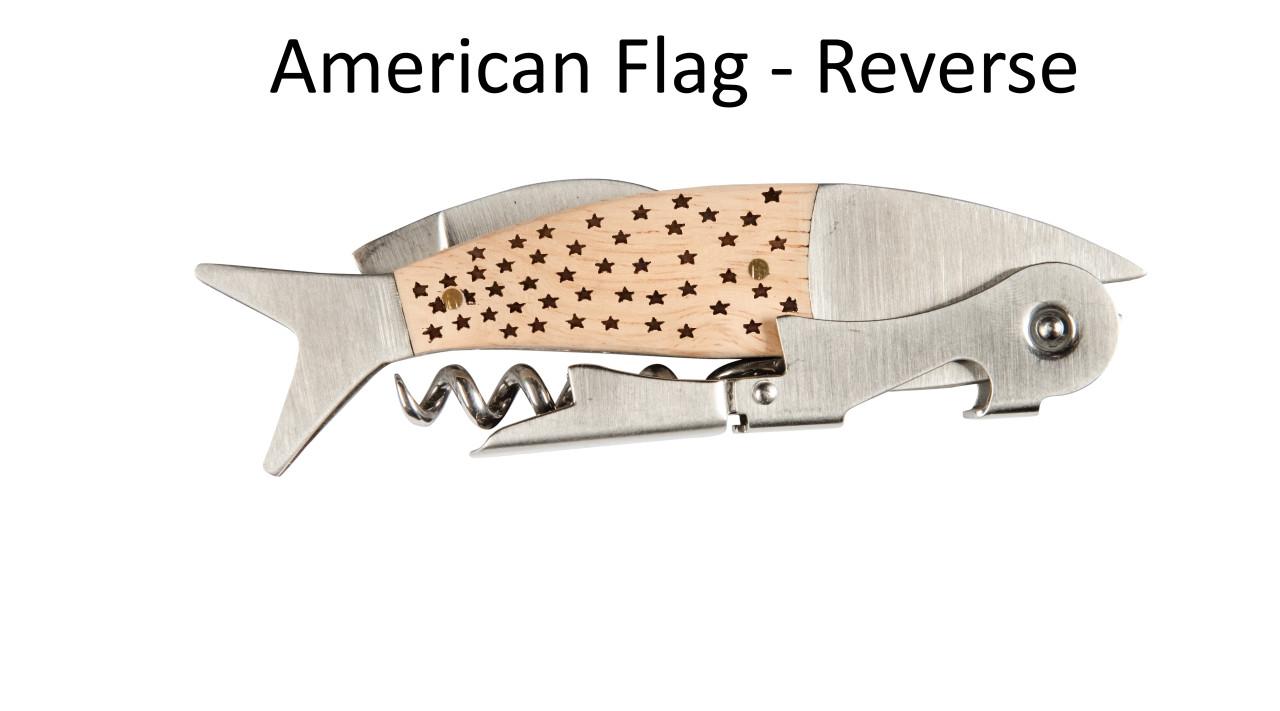 Coastal Double Pull Corkscrew Wine Opener – Choose Your Design – Optional Custom Engraving - American Flag Reverse