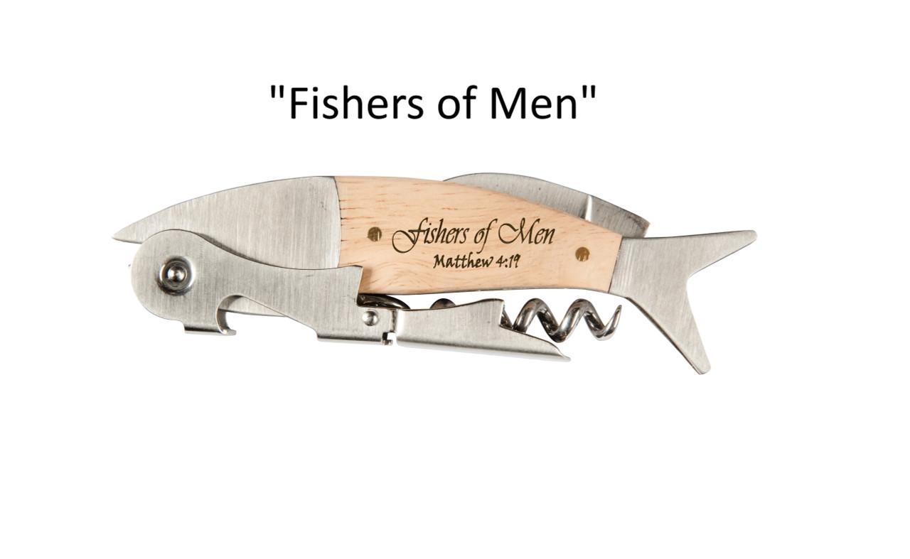 "Coastal Double Pull Corkscrew Wine Opener – Choose Your Design – Optional Custom Engraving - ""Fishers of Men"""