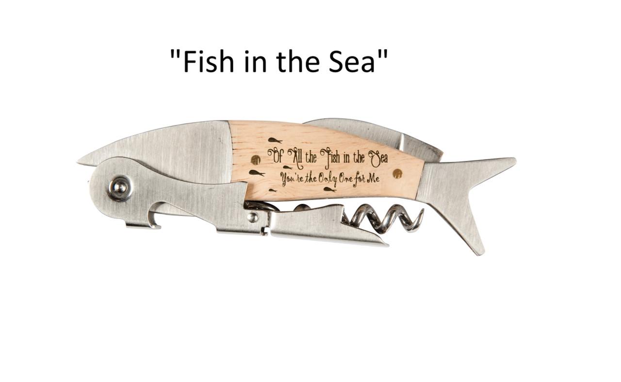 "Coastal Double Pull Corkscrew Wine Opener – Choose Your Design – Optional Custom Engraving - ""Fish in the Sea"""