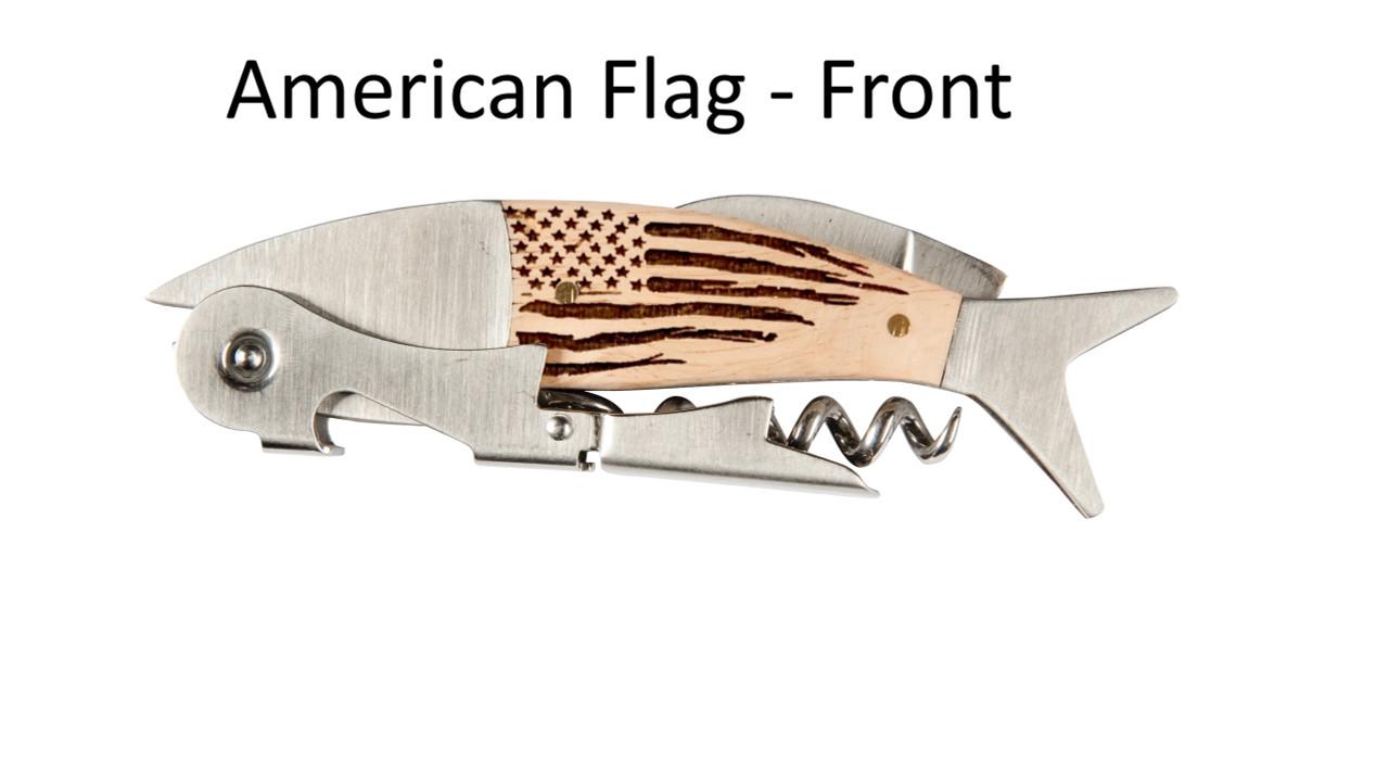 Coastal Double Pull Corkscrew Wine Opener – Choose Your Design – Optional Custom Engraving - American Flag Front