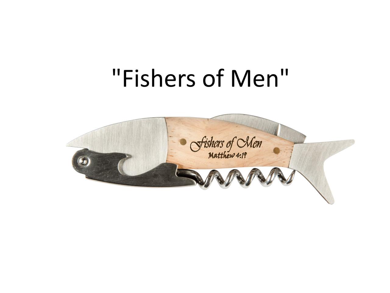 "Coastal Single Pull Corkscrew Wine Opener – Choose Your Design – Optional Custom Engraving - ""Fishers of Men"""