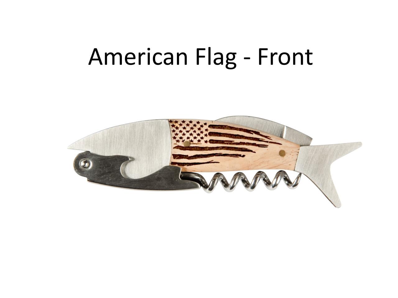 Coastal Single Pull Corkscrew Wine Opener – Choose Your Design – Optional Custom Engraving - American Flag Front