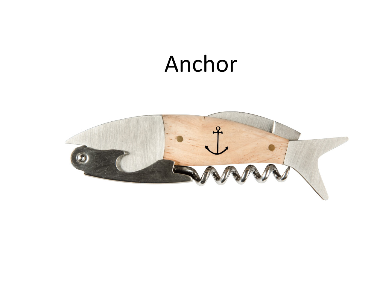 Coastal Single Pull Corkscrew Wine Opener – Choose Your Design – Optional Custom Engraving - Anchor