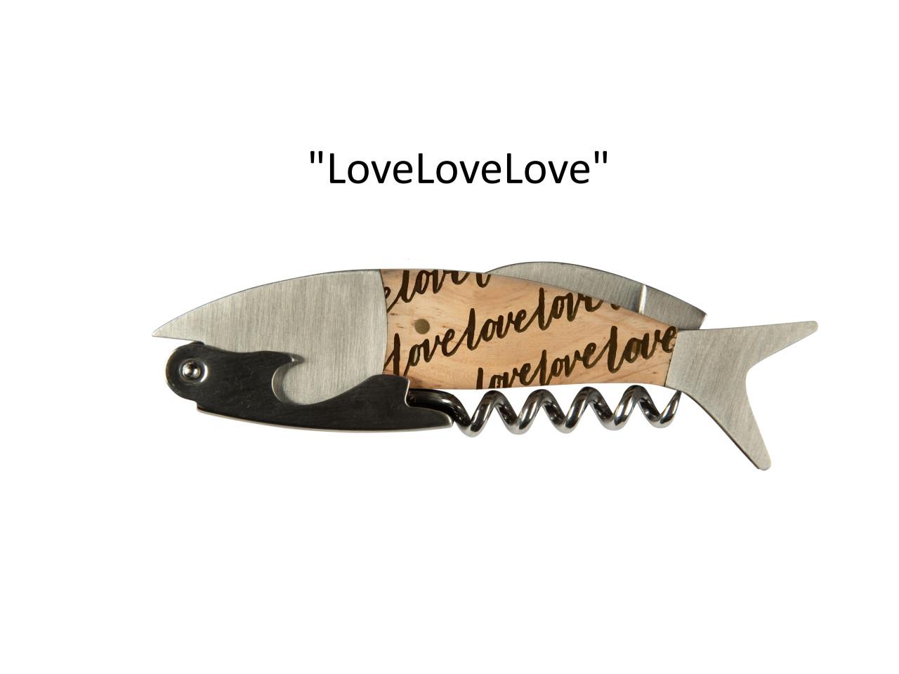 """Coastal Single Pull Corkscrew Wine Opener – Choose Your Design – Optional Custom Engraving - """"LoveLoveLove"""""""