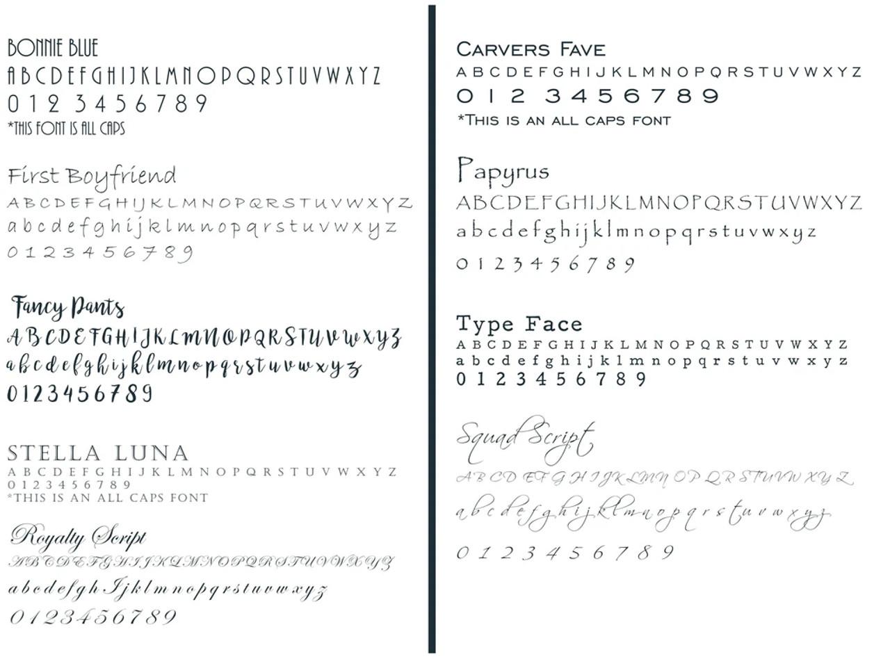 Custom Engraving Font Options
