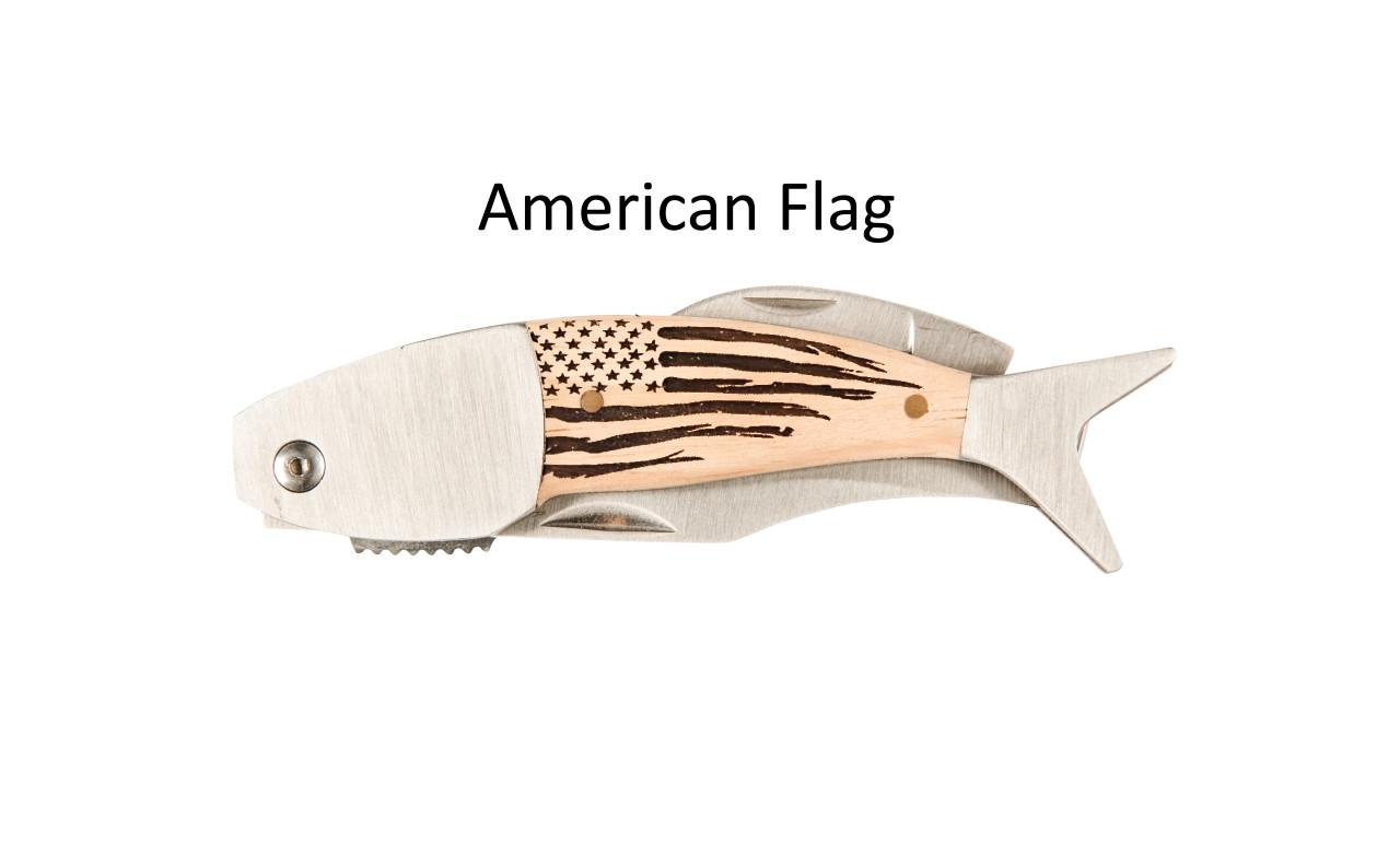 Large Coastal Pocket Knife – Choose Your Design – Optional Custom Engraving - American Flag