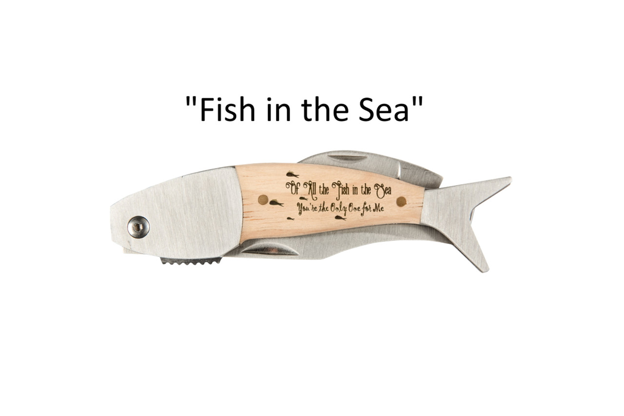 "Large Coastal Pocket Knife – Choose Your Design – Optional Custom Engraving - ""Fish in the Sea"""