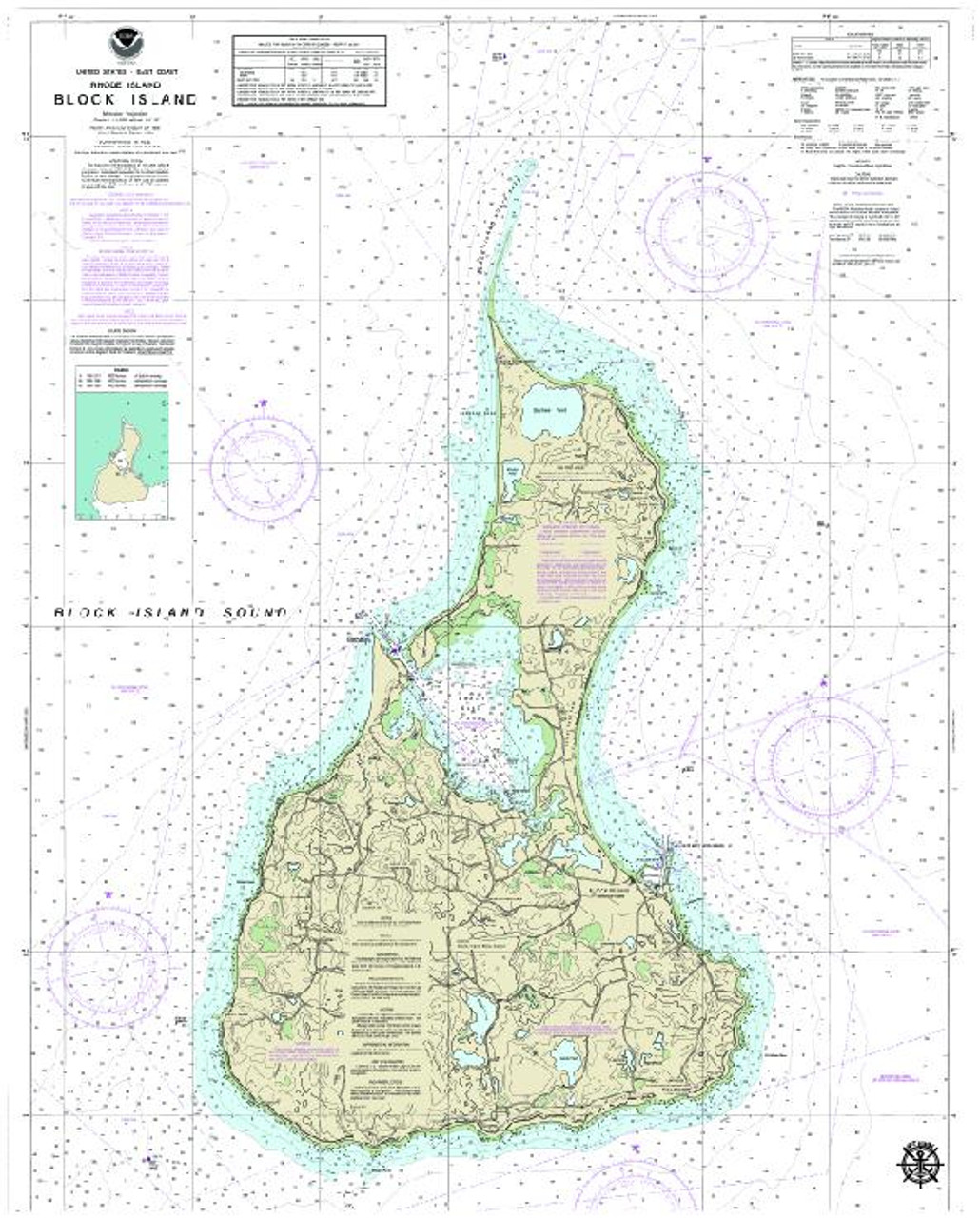 Block Island, R.I. Nautical Chart on Canvas - 3 Sizes Avail. - 3 Sizes Avail.