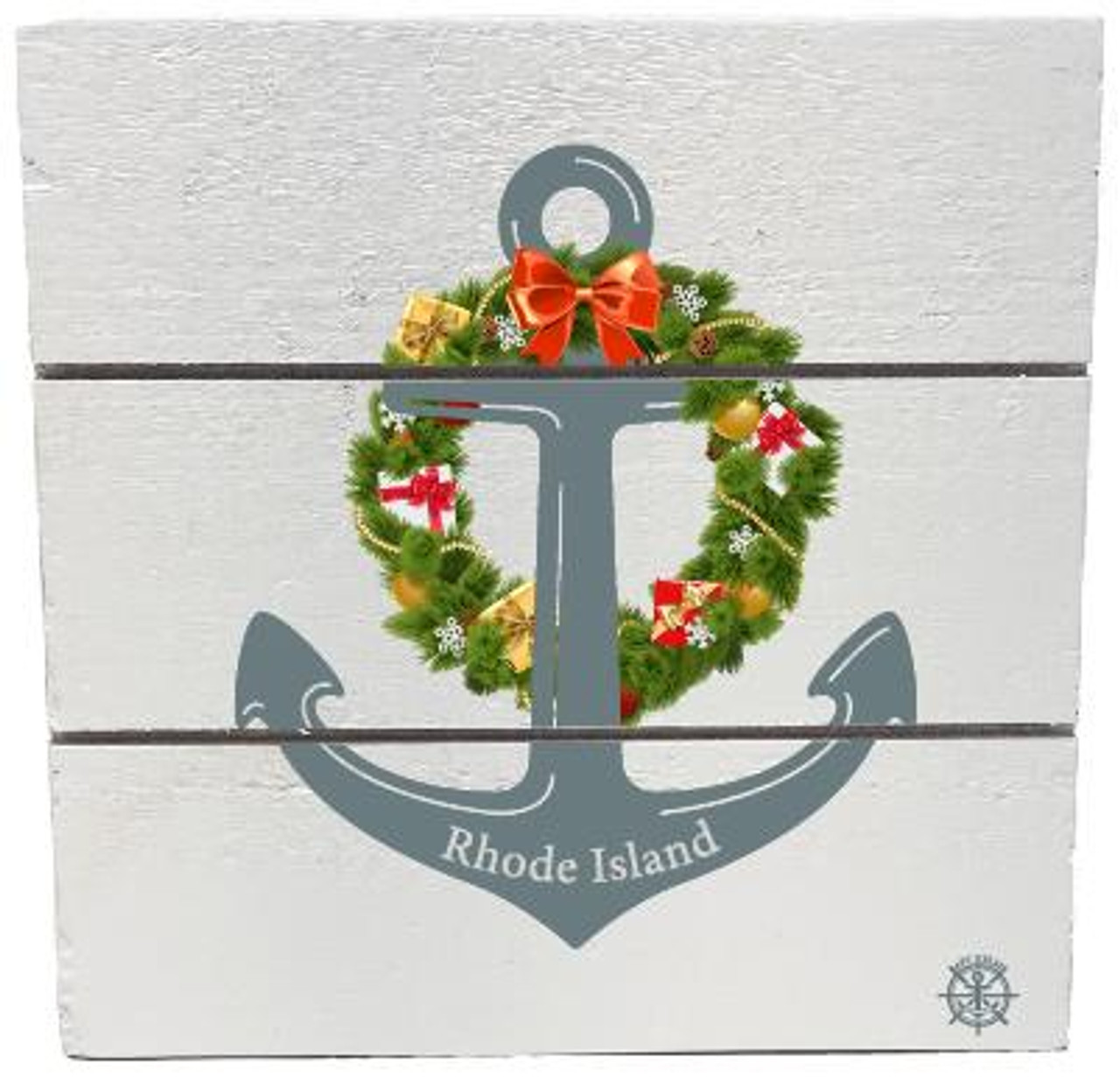 """Rhode Island"" Anchor Wreath Wooden Hanging Plank - White - Front"