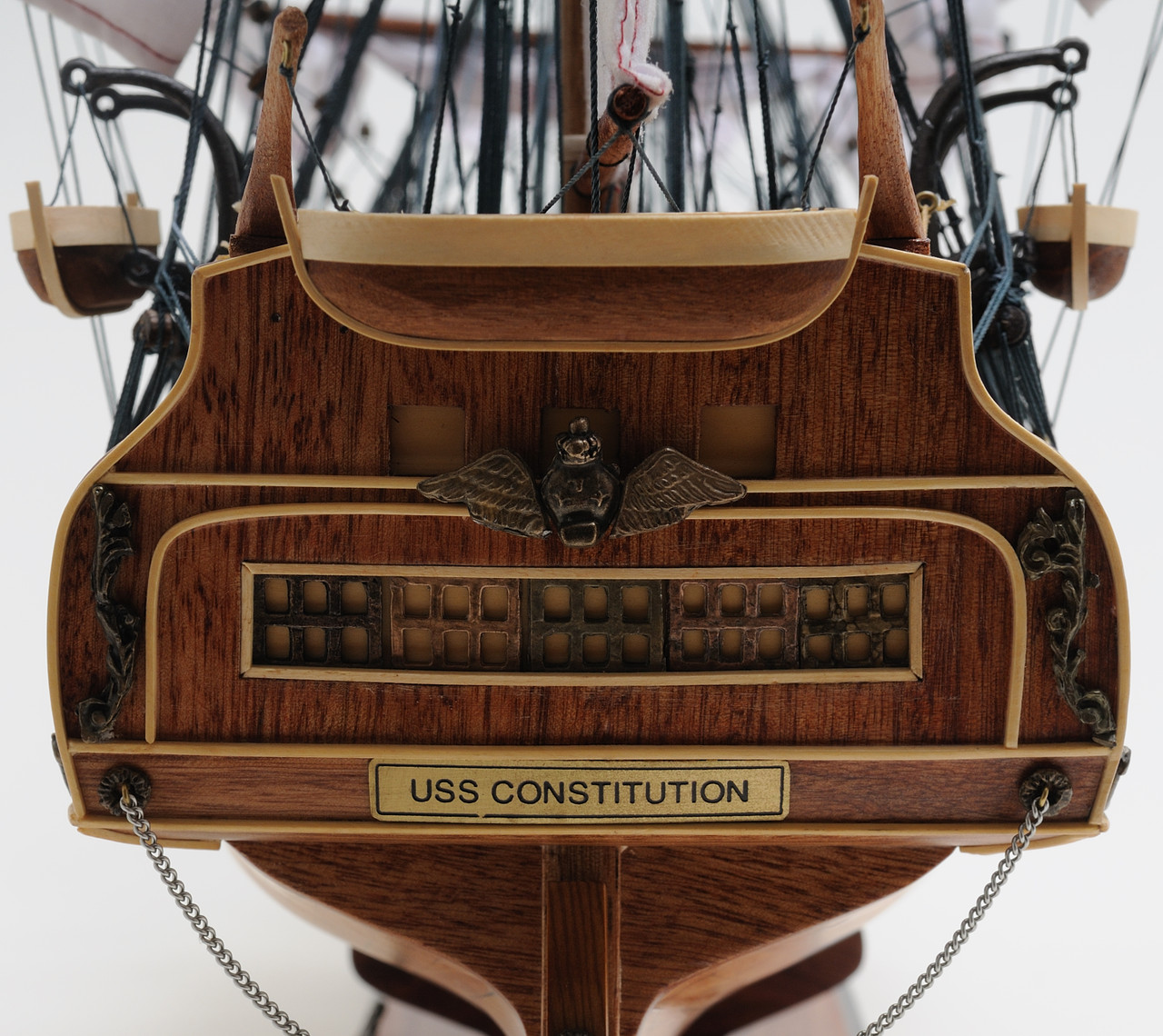 """USS Constitution Model Ship - 32"""" w/ Table Top Display Case"""
