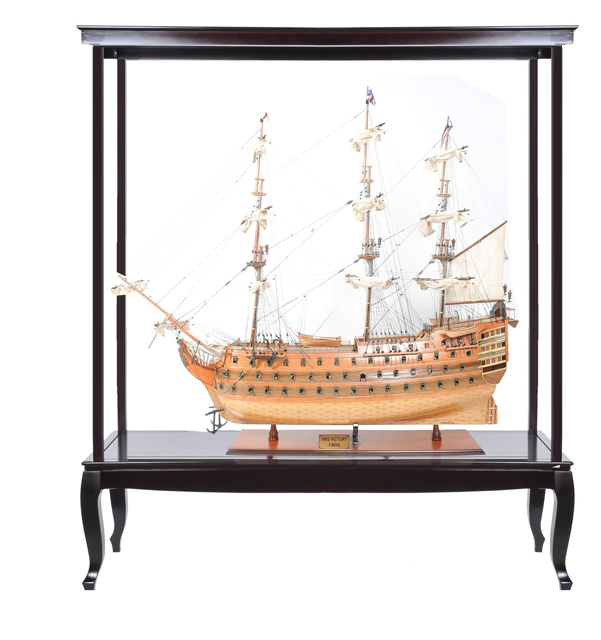 "HMS Victory Model Ship - 53"" w/ XL Glass Free Display Case - Optional Personalized Plaque"