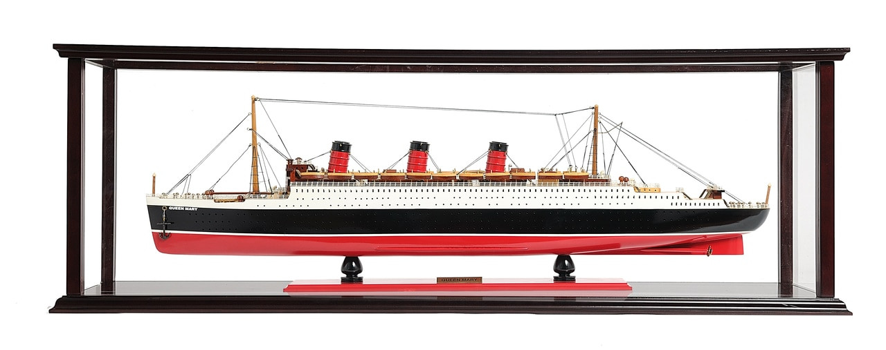 Queen Mary Model Ship with Tabletop Case - Example Image for Custom Made Model Ship