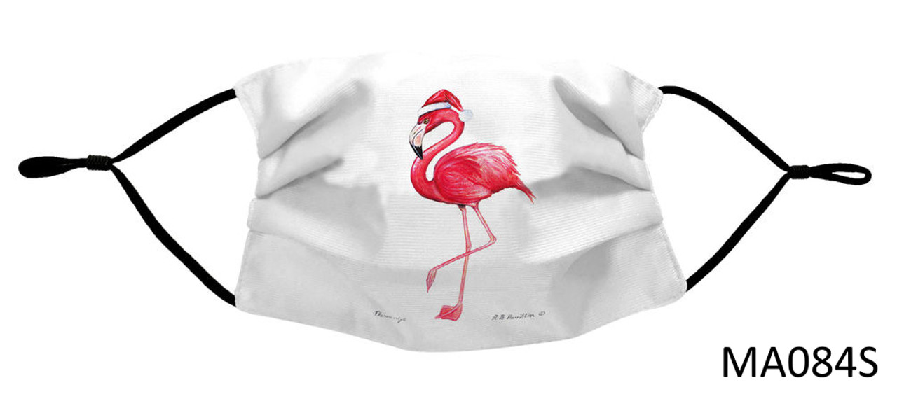 Nautical Face Masks - Holiday Collection - Flamingo with Santa Hat Face Mask - MA084S