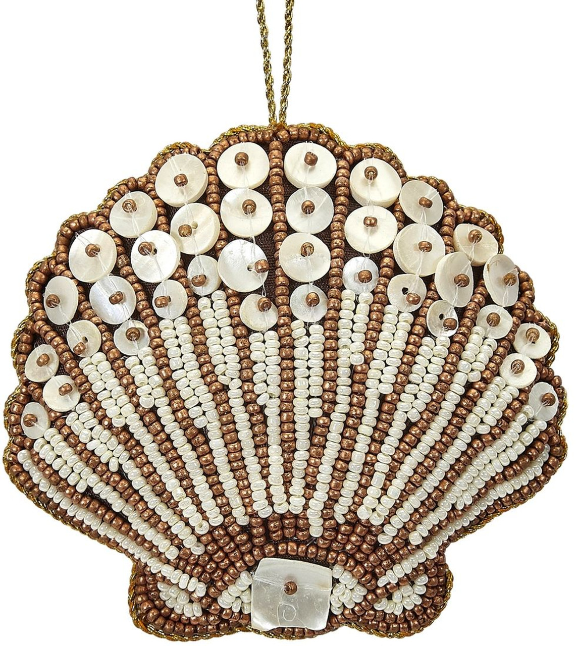 Scallop Mother of Pearl & Beads Ornament - Bronze