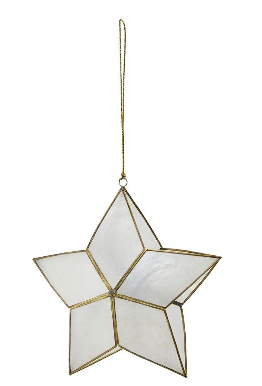 """Capiz 3D Double Star Ornament - 5"""" x 2"""""""