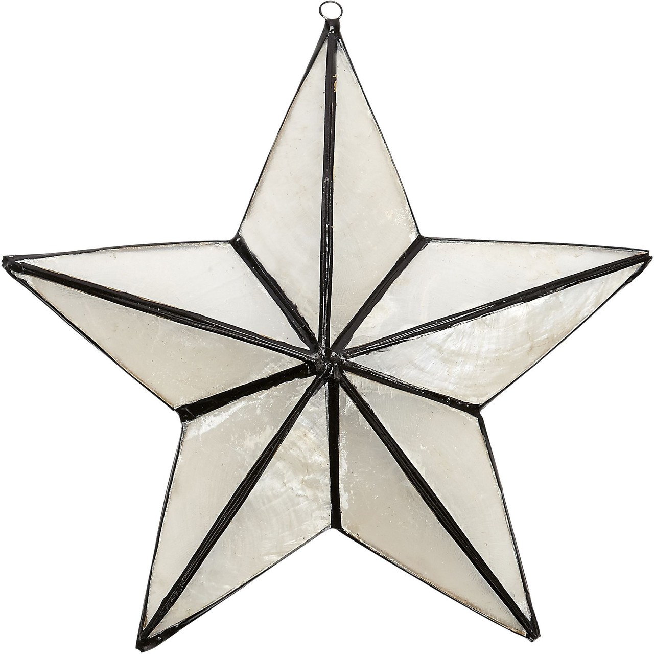 Capiz 3D Star Ornament - White and Black