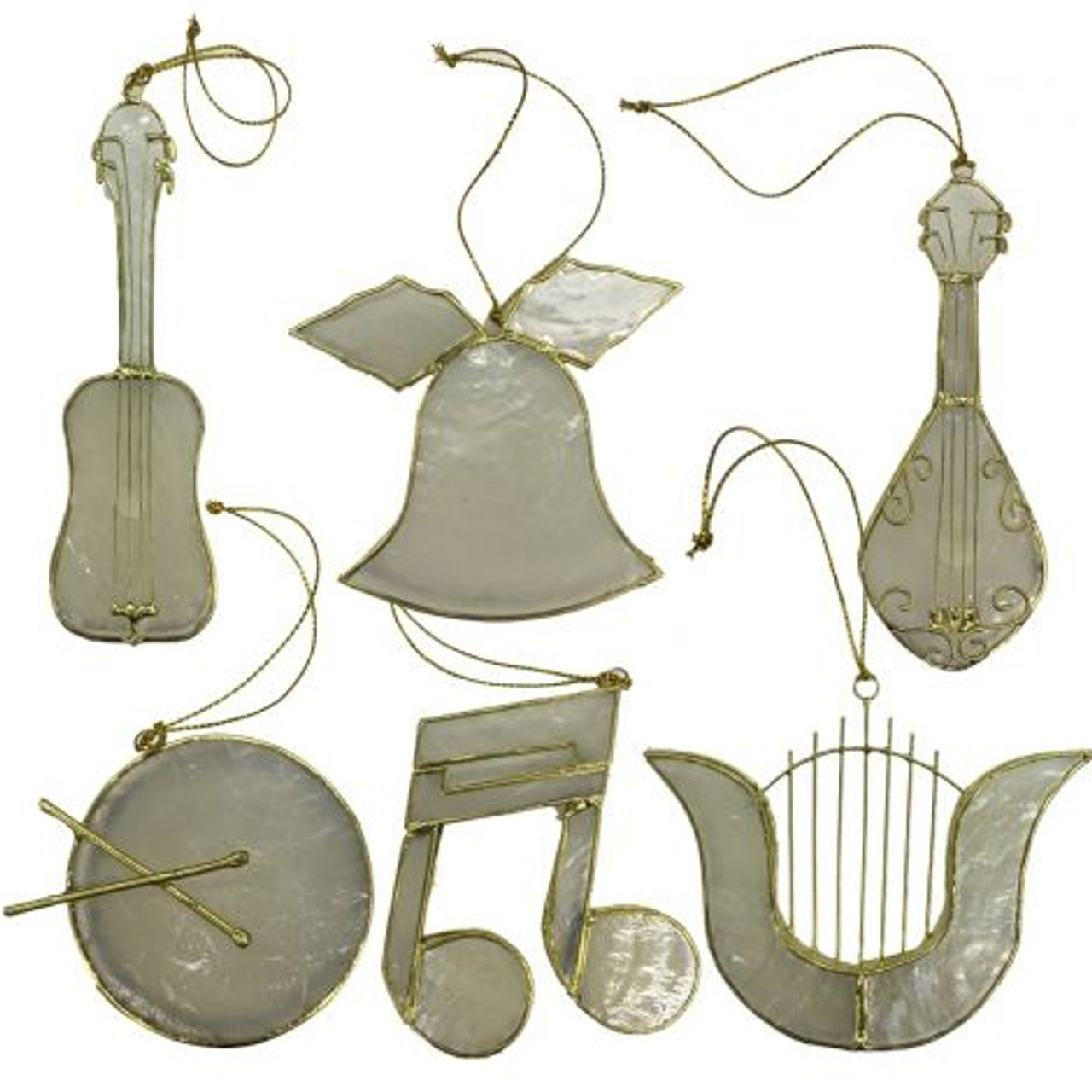 Capiz Music Ornaments - Set of 6  - Complete Set