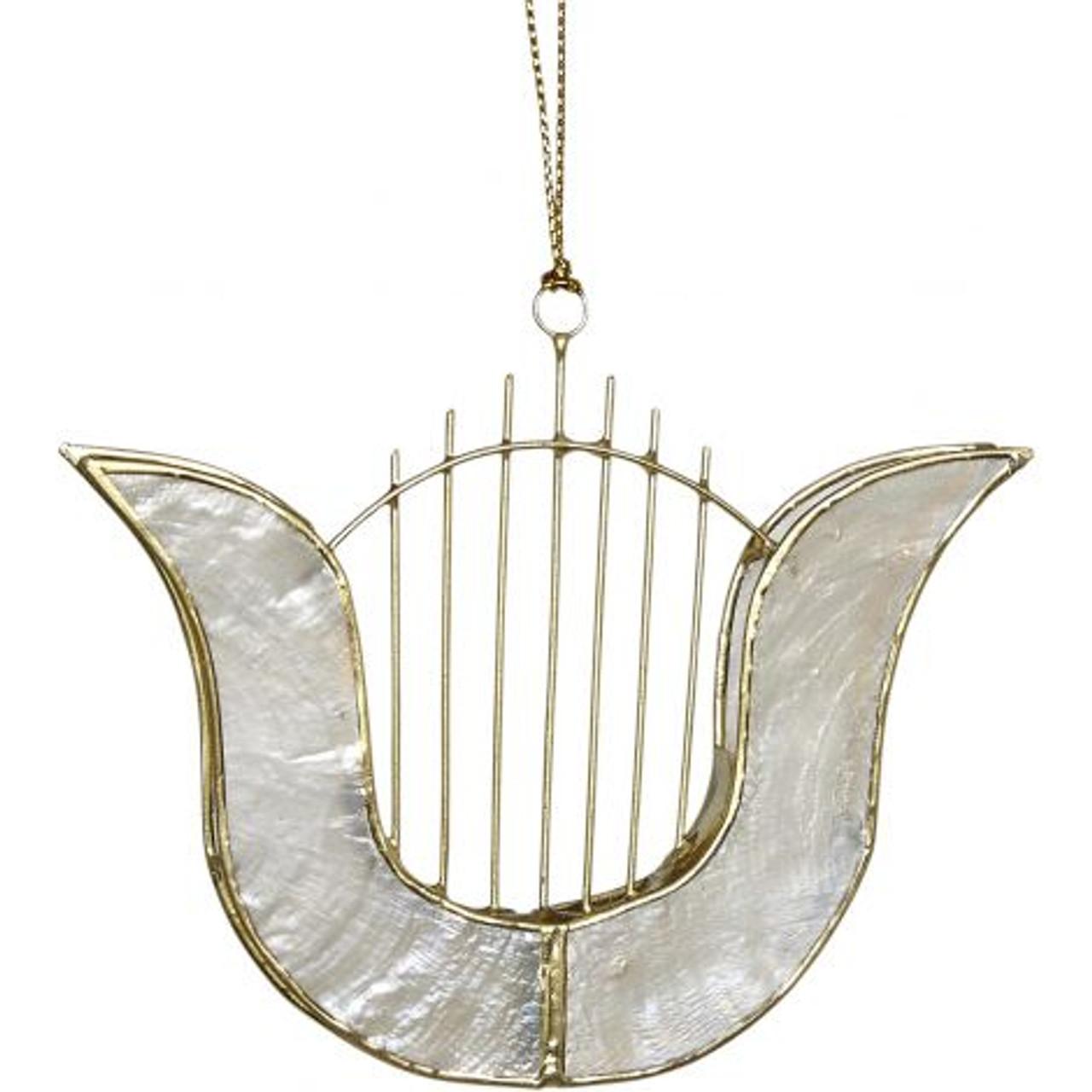 Capiz Music Ornaments - Set of 6 - Harp