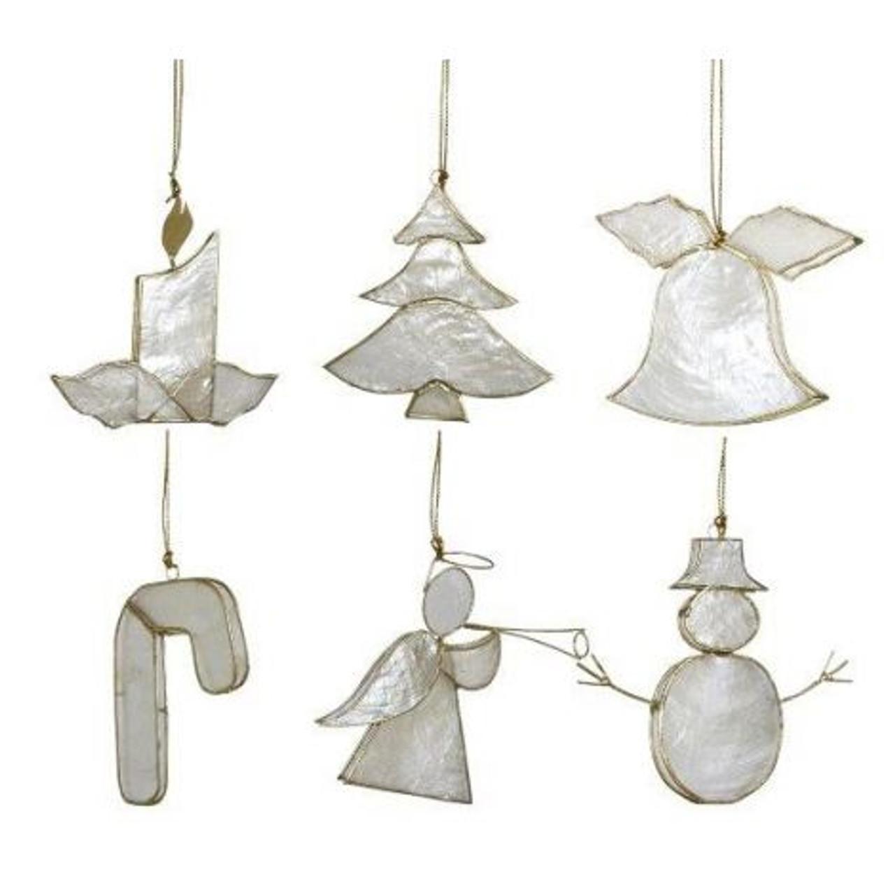 Capiz Christmas Ornaments - Set of 6 - Complete