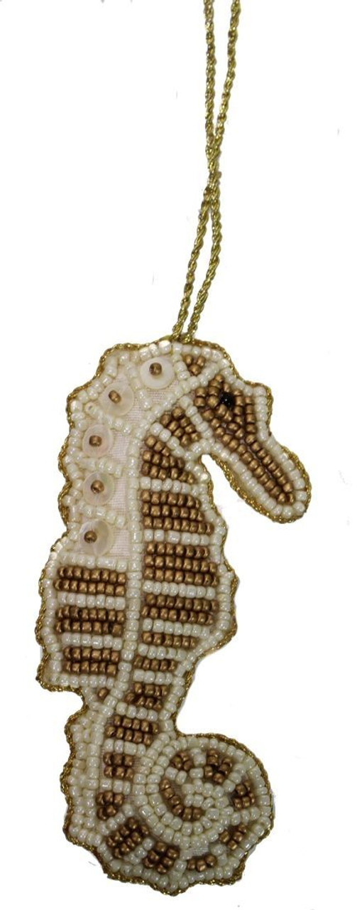 Seahorse Mother of Pearl & Beads Ornament - Gold