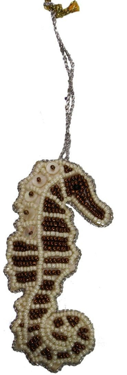 Seahorse Mother of Pearl & Beads Ornament - Bronze