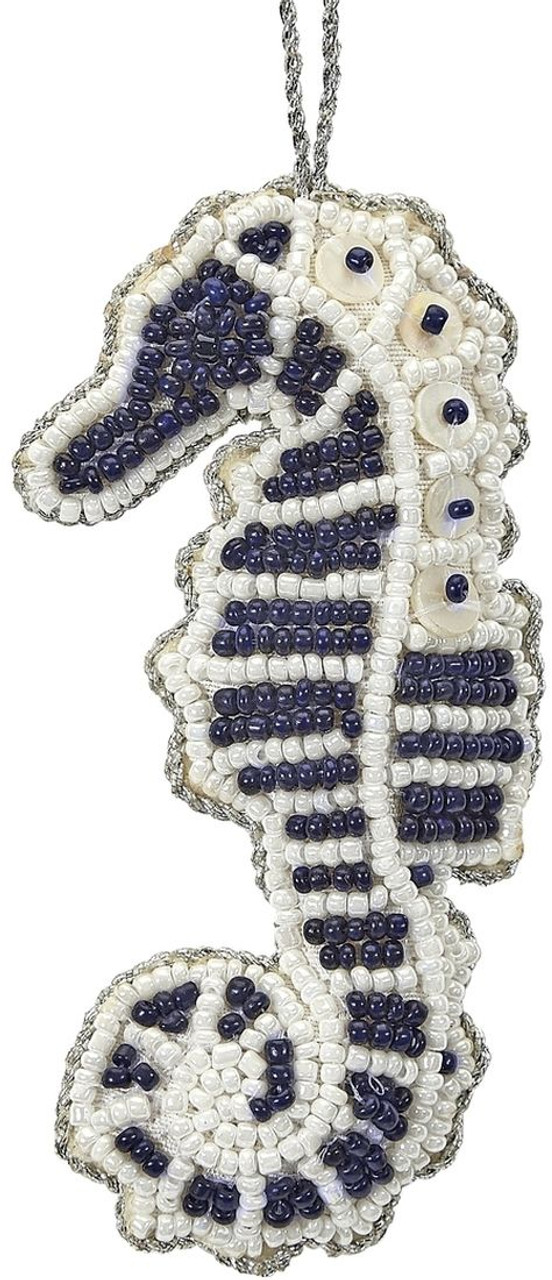 Seahorse Mother of Pearl & Beads Ornament - Navy