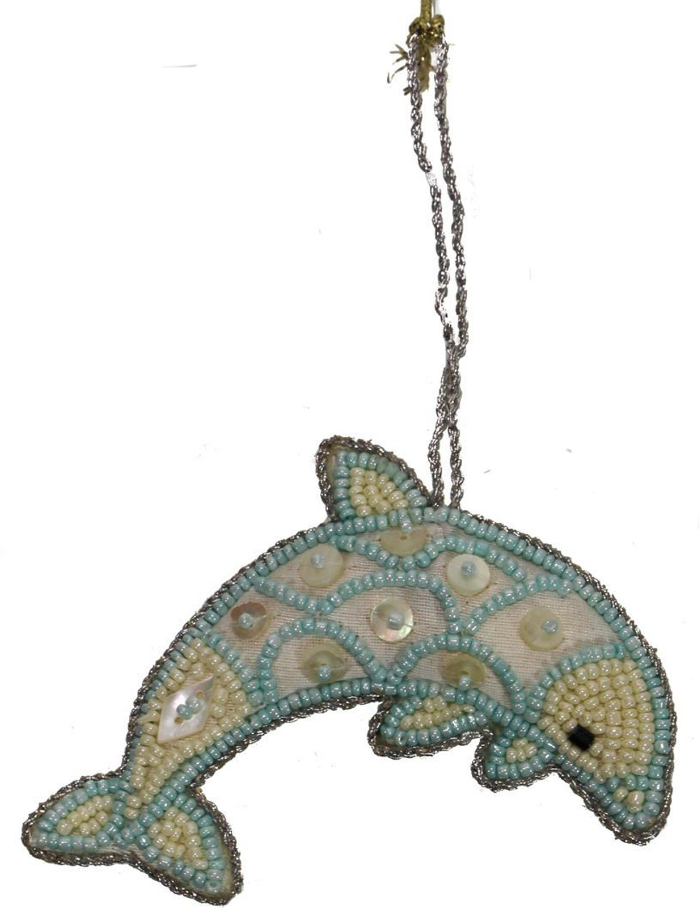 Dolphin Mother of Pearl & Beads Ornament - Cream and Blue