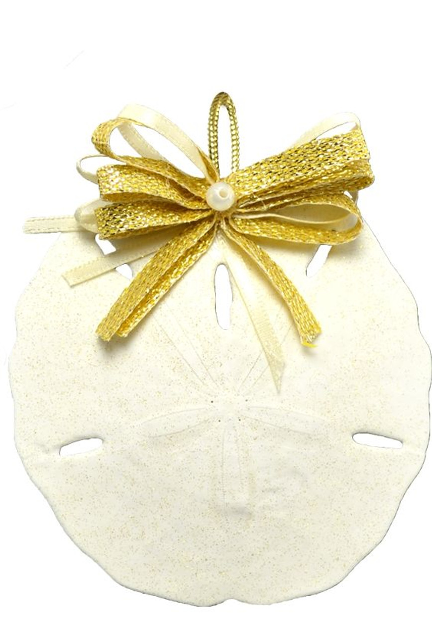 Round Sand Dollar Ornament with Gold Bow