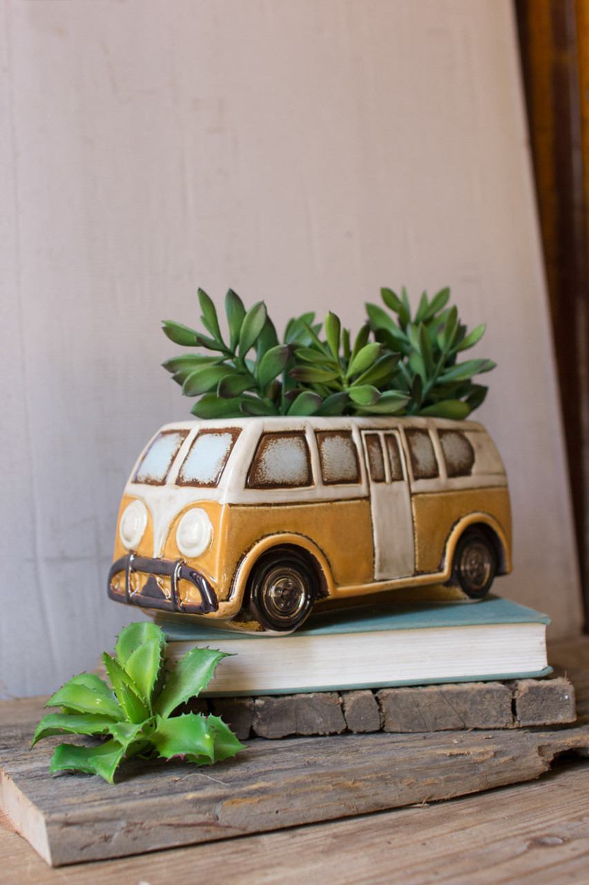 Ceramic Yellow Van Planter