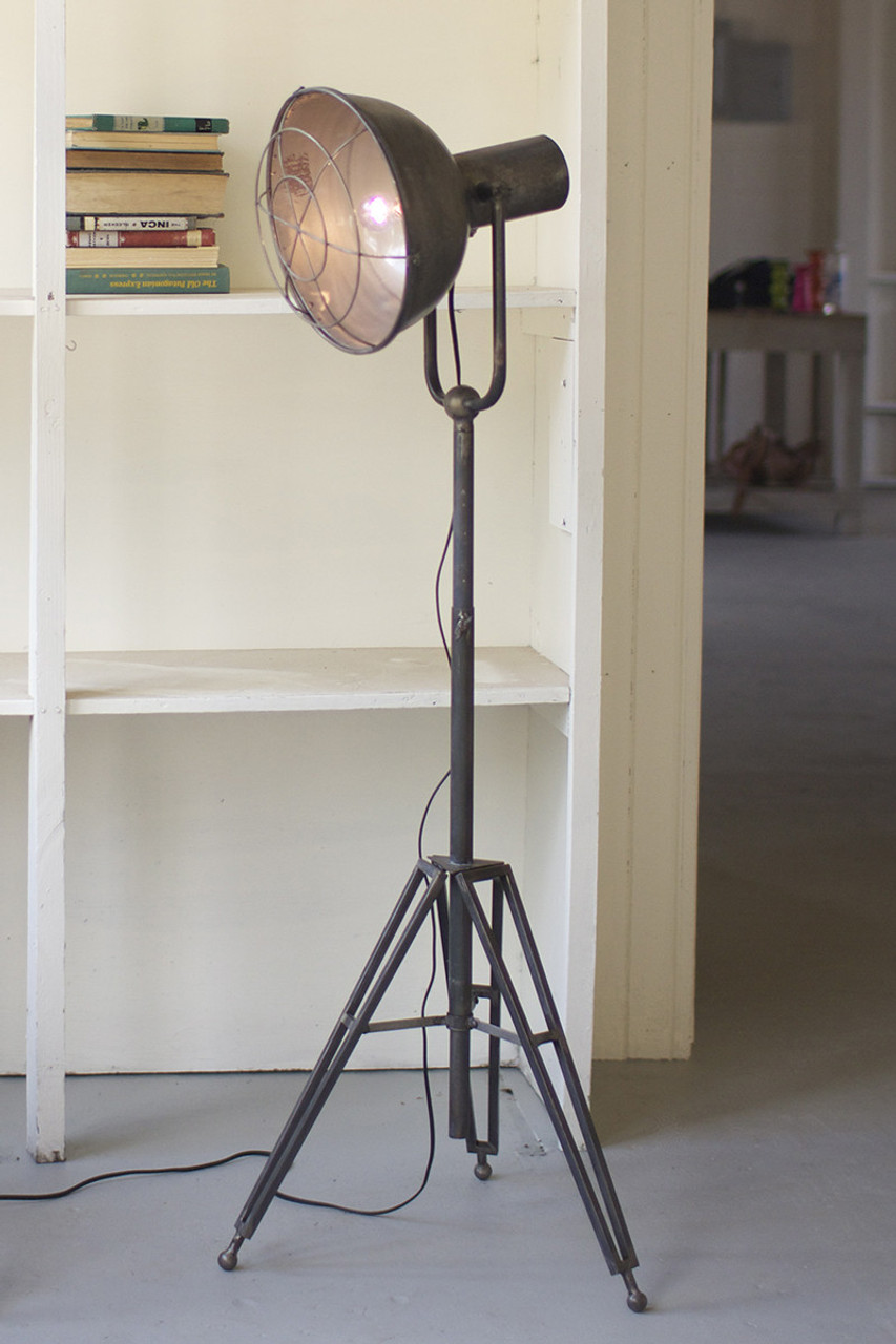 Caged Studio Lamp with Adjustable Height