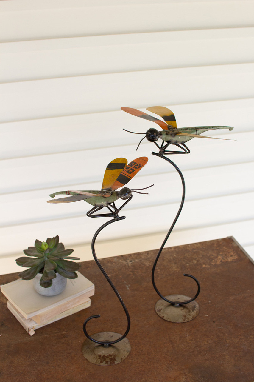 Recycled Metal Dragonflies on Stands - Set of 2
