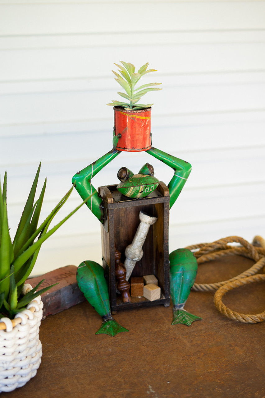 Recycled Iron and Brick Frog Holding Flower Pot