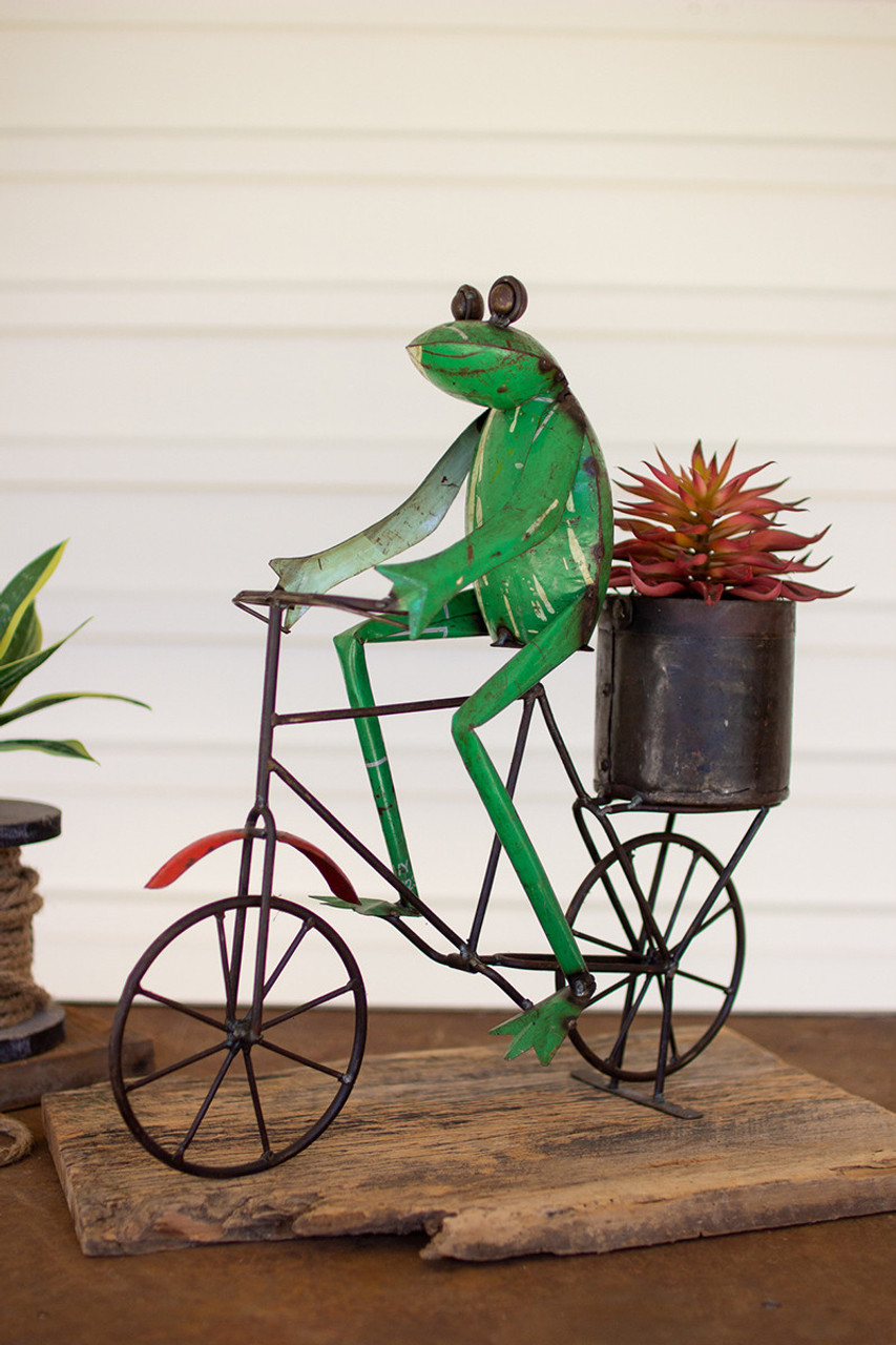 Recycled Iron Frog on a Bicycle with Flower Pot
