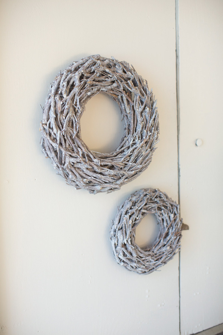 """Grey Wash Willow Root Wreath - Small - 19"""" Diameter"""